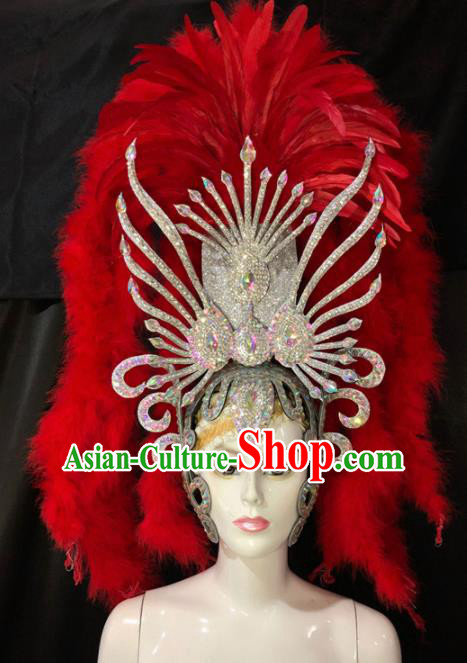 Customized Halloween Carnival Red Feather Tassel Hair Accessories Brazil Parade Samba Dance Giant Headpiece for Women
