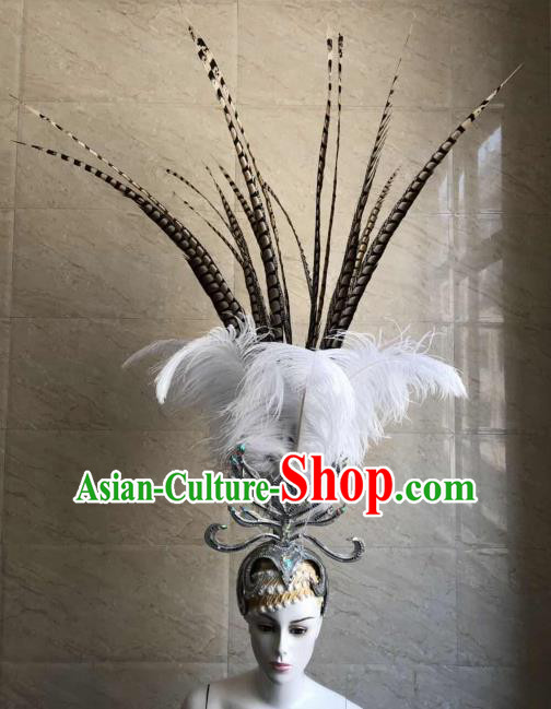 Customized Halloween Carnival White Feather Hair Accessories Brazil Parade Samba Dance Giant Headpiece for Women