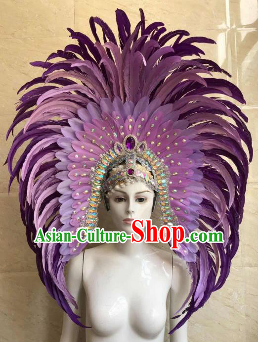 Customized Halloween Carnival Purple Feather Giant Hair Accessories Brazil Parade Samba Dance Headpiece for Women