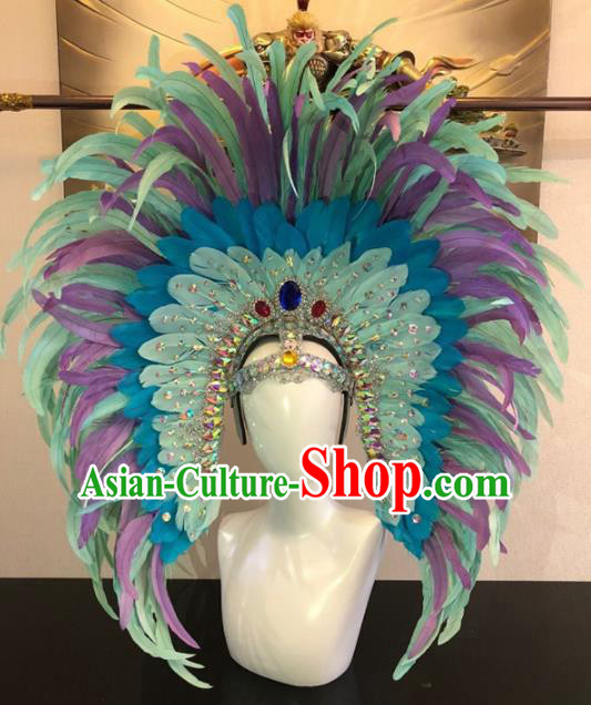 Customized Halloween Carnival Green Feather Giant Hair Accessories Brazil Parade Samba Dance Headpiece for Women