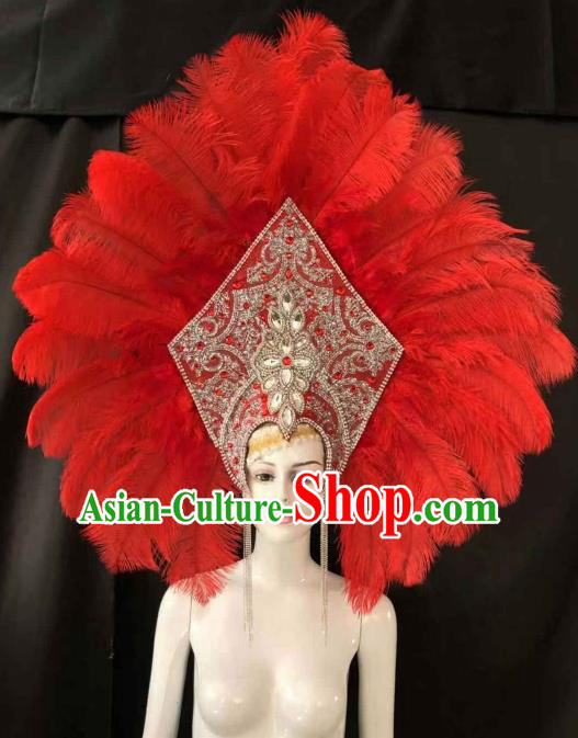 Customized Halloween Carnival Red Feather Giant Hair Accessories Brazil Parade Samba Dance Headpiece for Women