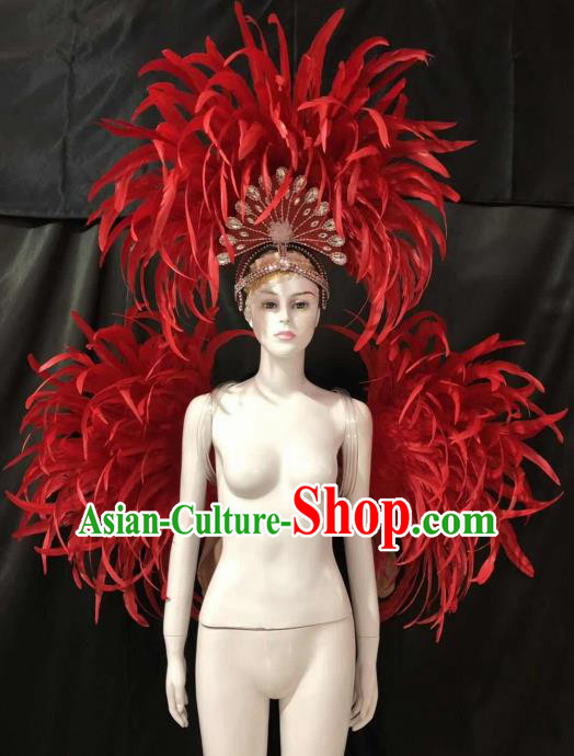 Customized Halloween Samba Dance Red Feather Props Brazil Parade Backboard and Giant Headpiece for Women
