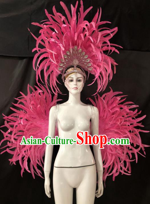 Customized Halloween Samba Dance Pink Feather Props Brazil Parade Backboard and Giant Headpiece for Women